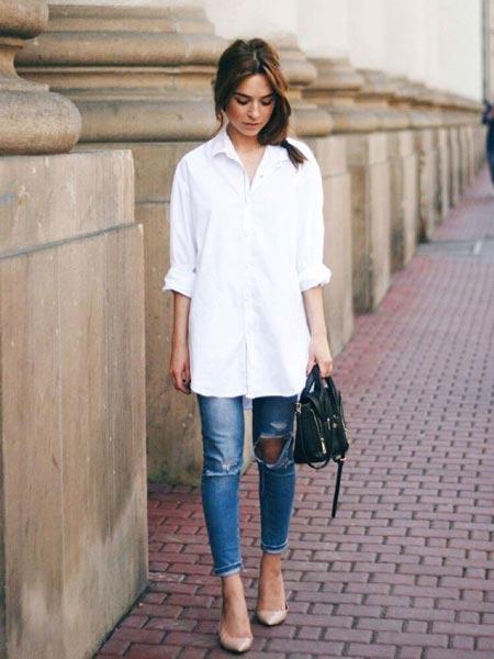 С чем носить удлиненную рубашку
