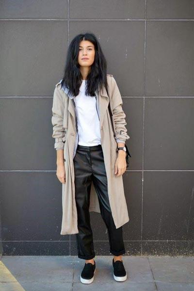 Слипоны с кожаными штанами